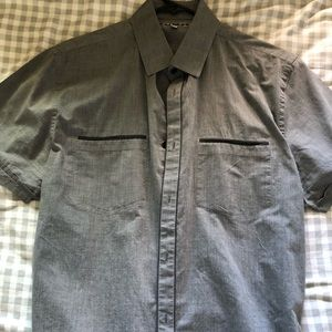 Gray Casual Short Sleeve Button Up Shirt